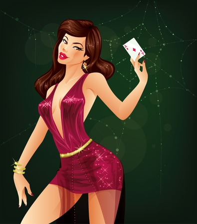 Female poker player is holding an ace of diamonds card in her hand 矢量图像