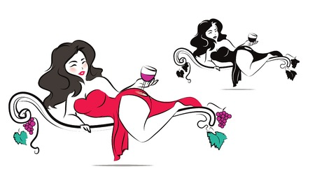 Beautiful woman is enjoying a glass of wine Illustration