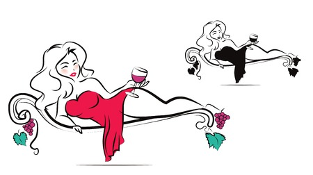 woman lying down: Beautiful woman is enjoying a glass of wine Illustration