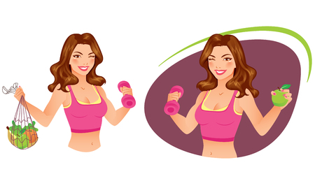 fitness instructor: Portrait of a beautiful fitness instructor holding dumbbell and fruits