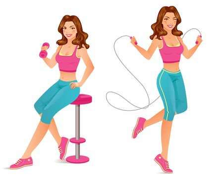 Beautiful fitness instructor is exercising with dumbbell and jumping rope