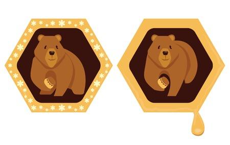 Cartoon bear with a jar of honey