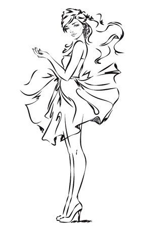 Fashion girl wearing a dress is presenting