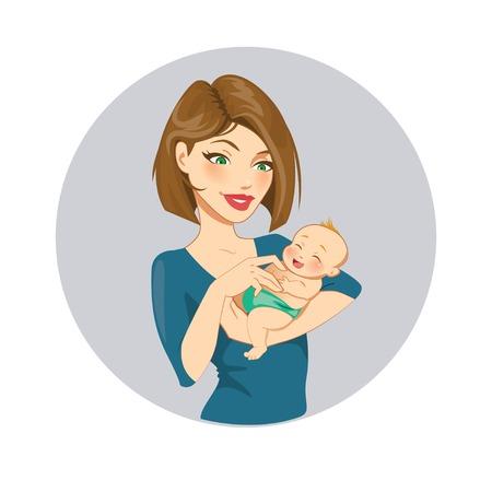 madre soltera: Madre y bebé  Vectores