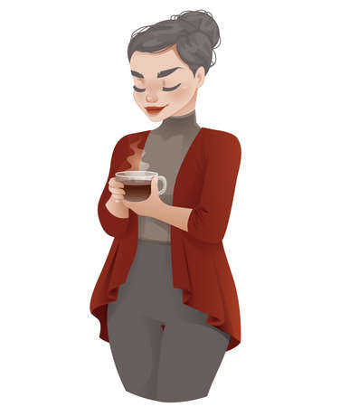 Cozy Cartoon Female Drinking a Hot Drink 矢量图像