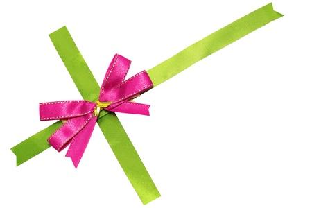 and pink ribbon: pink bow on green ribbon