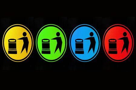 symbol recycle bins 4 types  photo
