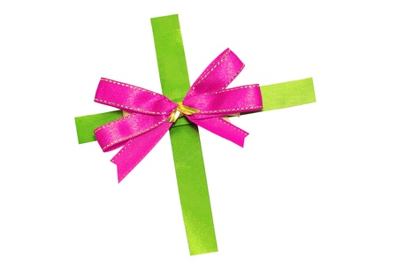 Pink bow on green ribbon photo