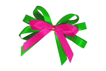 Pink bow on green ribbon Stock Photo - 15237852