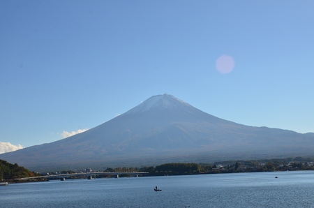 koyo: Mt. Fuji, Japan at Lake Kawaguchi during the autumn season. Stock Photo
