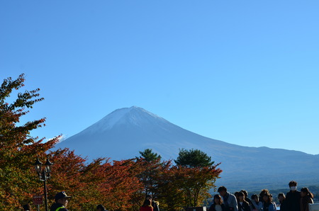 koyo: Mt. Fuji, Japan at Lake Kawaguchi during the autumn season. Editorial