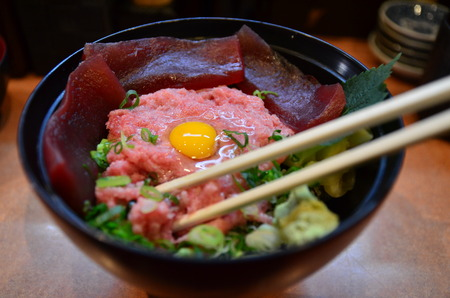 Bowl of rice topped with tuna