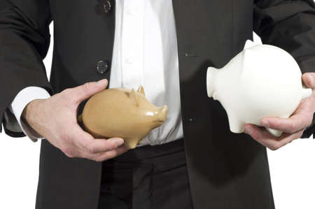 man in suit with two piggy-banks Stock Photo - 6369029