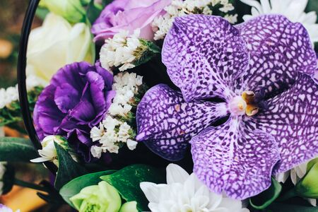 A bouquet of flowers in purple tones with a tiger orchid in the center. Close view Zdjęcie Seryjne