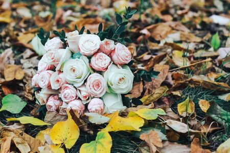 Bouquet with pink and white roses on a background of autumn leaves Zdjęcie Seryjne
