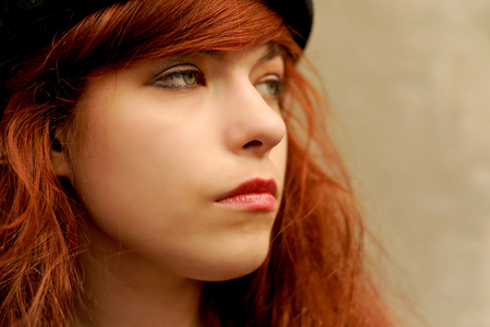 offense: Emotions, offense, grief, girl, woman, loneliness, depression Stock Photo