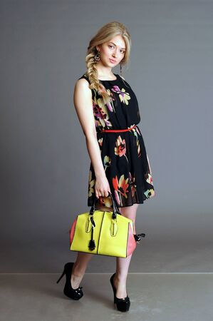 floret: summer dress, dress in a floret, blonde, girl with long hair, blondinska with long hair, girl with blue eyes, beautiful blonde,