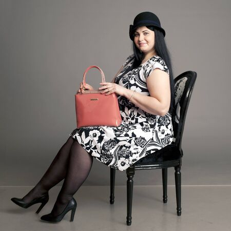 floret: summer dress, dress in a floret, girl with a chair, black chair,