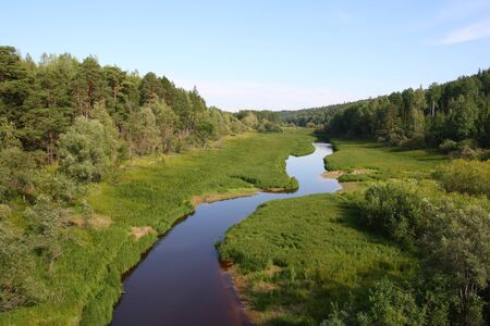 inflow: Landscape with the river in Siberia  Inflow of Irtysh
