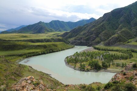 inflow: Place of merge of the river Katun with the inflow. Altai, Siberia