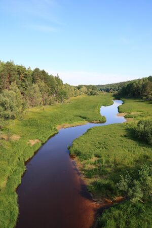 inflow: Landscape with the river in Siberia. Inflow of Irtysh