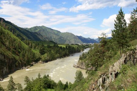 chemal: View from the coast on the river Katun  Altai, Siberia, Russia Stock Photo