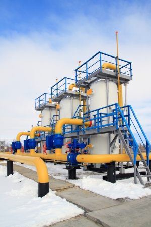 natural gas: Gas transmission equipment in the winter afternoon Editorial