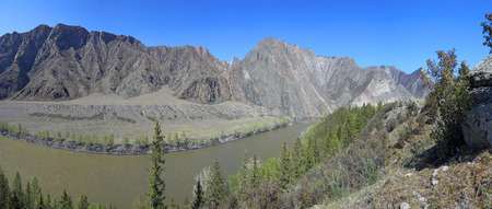 katun: Altai Mountains and river Katun in the spring afternoon