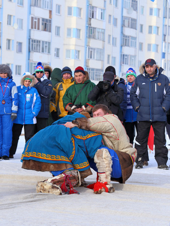 breeder: NADYM, RUSSIA - MARCH 14, 2015: National Nenets fight competitions on a traditional holiday Day of the reindeer breeder. Nenets - aboriginals of the Russian North