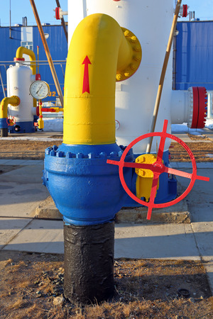 transducer: The manometer and the locking gate on a gas pipe of a high pressure Stock Photo