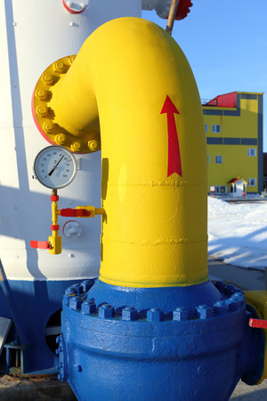 manometer: The manometer and the locking gate on a gas pipe of a high pressure Stock Photo
