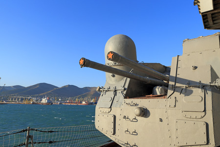cruiser: Novorossiysk, Russia, August 07, 2015. Artillery tower of the cruiser MIKHAIL KUTUZOV