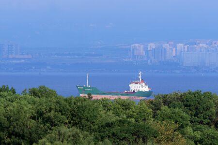 andromeda: Novorossiysk, Russia, on August 13, 2015. Universal sea vessel of ANDROMEDA stand on raid