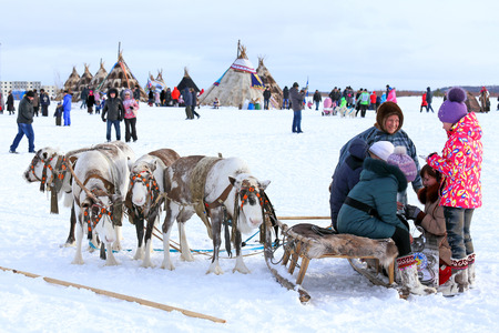 aboriginal: NADYM, RUSSIA - MARCH 14, 2015: The young mans the Nenets with a cervine team during the holiday Day of the reindeer breeder. Nenets - aboriginals of the Russian North
