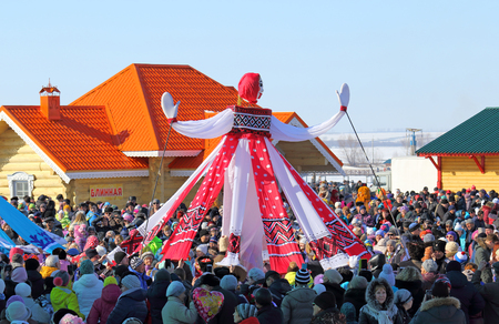 shrove: BELOKURIKHA, RUSSIA - MARCH 12, 2016: Maslenitsa is a Russian religious and folk holiday