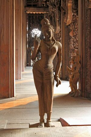 thai motifs: PATTAYA, THAILAND - MARCH 28, 2012: Sanctuary of Truth. Temple interior elements