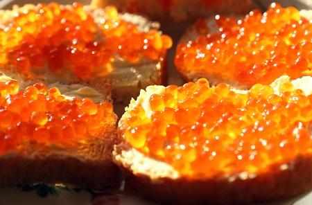 sharpness: Caviar sandwiches close up. Small depth of sharpness