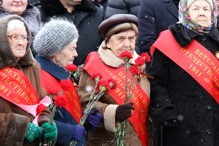 concerning: NADYM, RUSSIA - MAY 08, 2016: Elderly women veterans of World War II on meeting concerning memory of the died soldiers Editorial