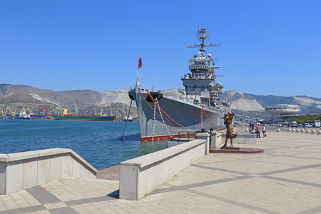 mikhail: Novorossiysk, Russia, August 10, 2015. Artillery average cruiser MIKHAIL KUTUZOV