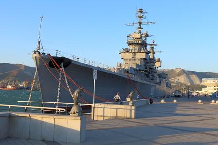 mikhail: Novorossiysk, Russia, August 07, 2015. Artillery average cruiser MIKHAIL KUTUZOV