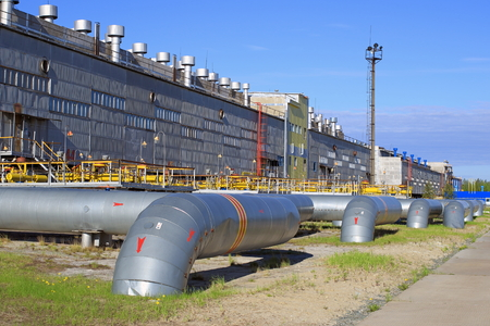 compresor: estación de compresión de gas en Siberia