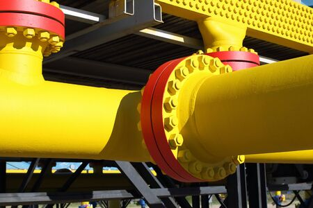 flange: Flange connections on the gas pipeline Stock Photo