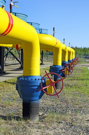Powerful locks on the gas pipeline Stock Photo