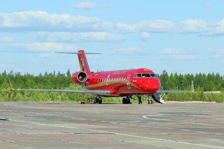 bombardier: NADYM, RUSSIA - JUNE 23, 2016: The Bombardier CRJ-100ER VQ-BNB Rusline Editorial
