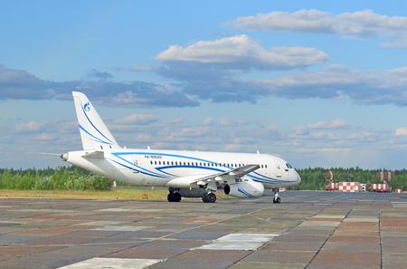 NADYM, RUSSIA - JULY 26, 2016: The SuperJet 100-95LR RA-89049 plane prepares for take-off. Plane of Gazpromavia airline Editorial