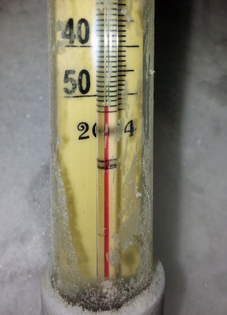 siberia: Extremely low temperatures in Siberia, alcohol thermometer -50 Stock Photo