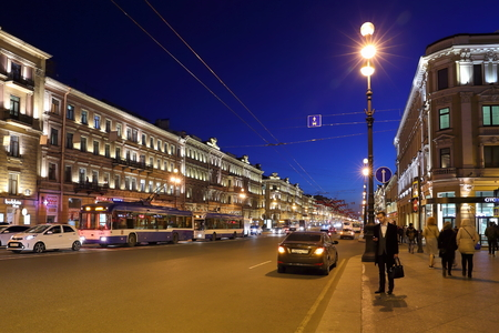 Saint Petersburg, RUSSIA - MAY 03, 2017: Nevsky Prospekt in the evening in early may