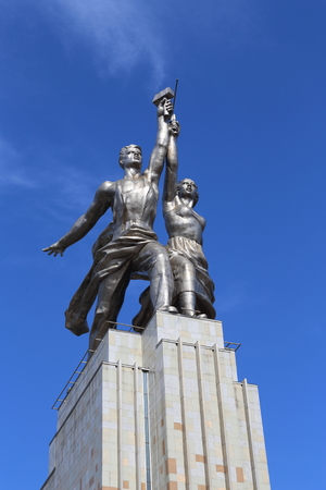 sickle: Moscow, RUSSIA - MAY 01, 2017: Monument worker and collective farm girl in Sunny weather