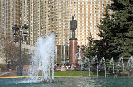 Moscow, RUSSIA - APRIL 29, 2017: Monument to Charles de Gaulle in front of the hotel Space Editorial