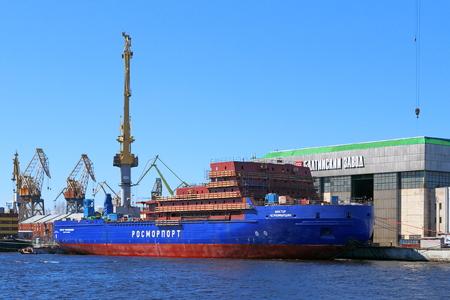 shipbuilding: Saint Petersburg, RUSSIA - MAY 03, 2017: The construction of linear diesel-electric icebreaker LK-25 Viktor Chernomyrdin project 22600 Editorial